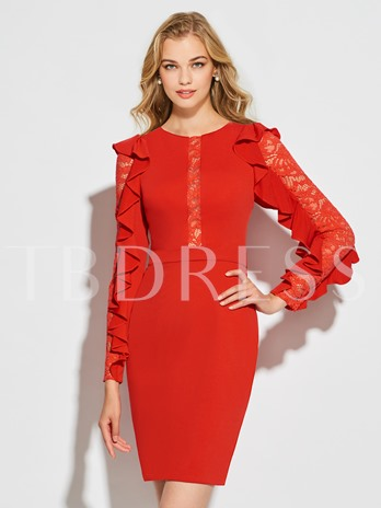 Sheath Jewel Long Sleeves Lace Ruffles Short Cocktail Dress