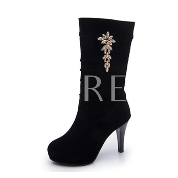 Black High Heel Rhinestone Sequin Women's Half Boots