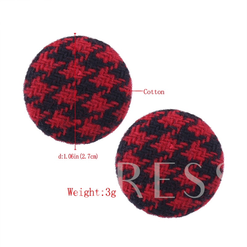 Round Button Houndstooth Cotton Cloth Earrings