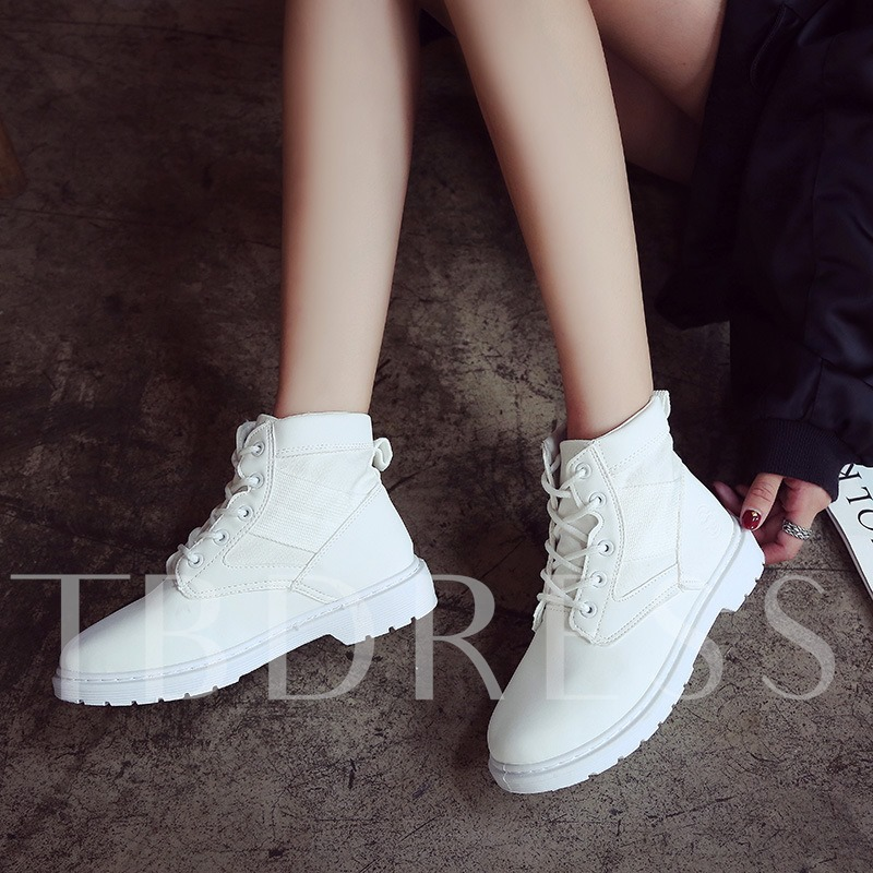 Women's Patchwork Martin Boots Lace Up Shoes