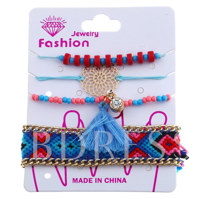 Rhinestone Alloy Hollow Out Beads Link Chain Bracelet