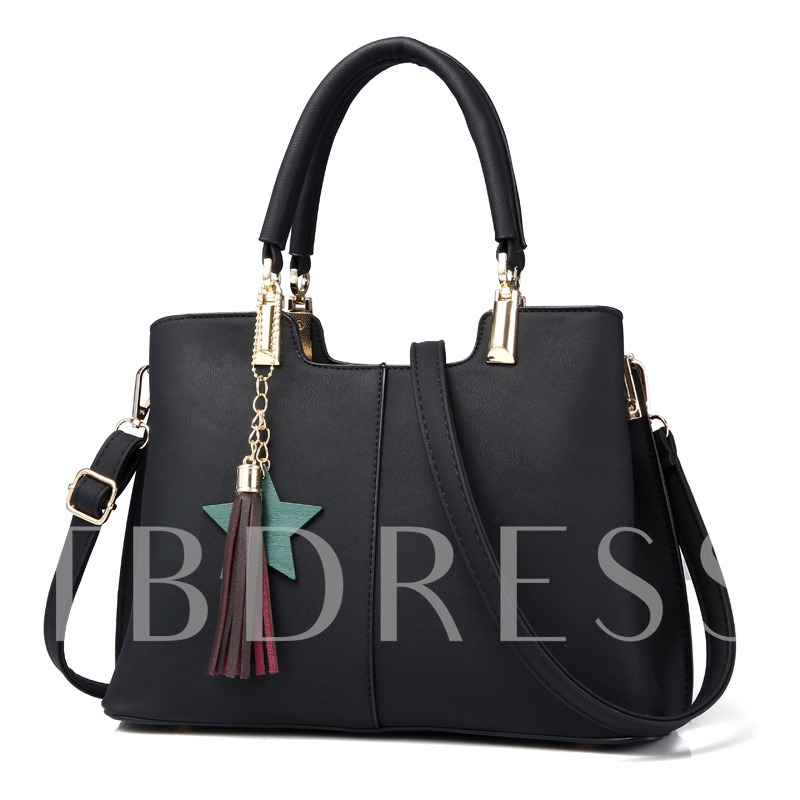 Concise Pendant Solid Color Women Tote