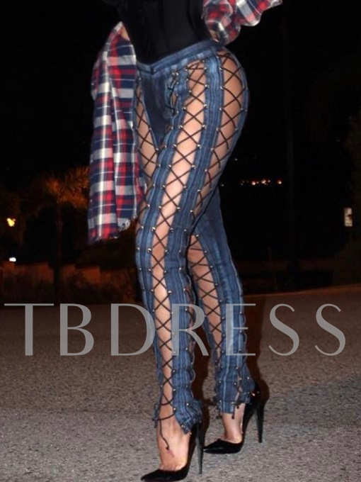 Slim Sexy Hollow Lace-Up Women's Jeans