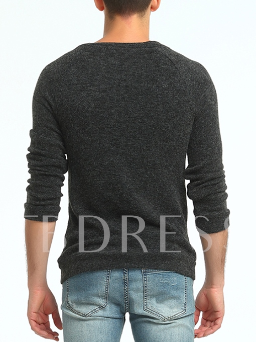 Round Collar Button Patchwork Solid Color Slim Fit Men's Sweater