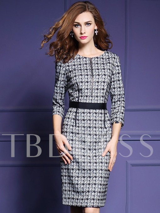 Front Zipper Plaid Half Sleeve Women's Sheath Dress