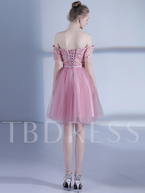 Short Sleeves Off-the-Shoulder A-Line Appliques Bowknot Sashes Homecoming Dress