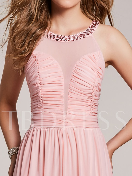 A Line Scoop Neck Beaded Pleats Prom Dress