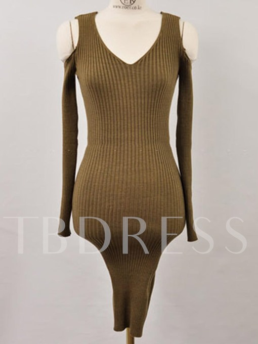 Olive Cold Shoulder Women's Sweater Dress