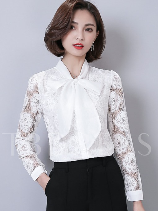 Bowknot Lace Patchwork Slim Women's Blouse