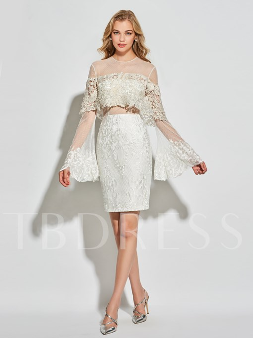 Sheath Lace Two Pieces Long Sleeves Scoop Short Cocktail Dress