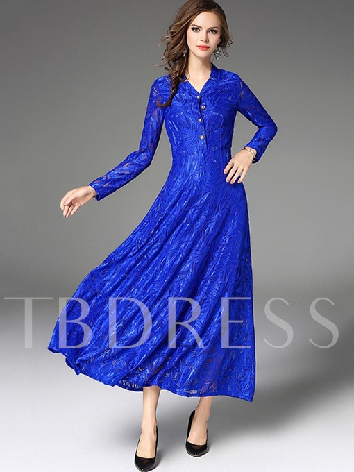Blue Single-Breasted Lace Women's Maxi Dress