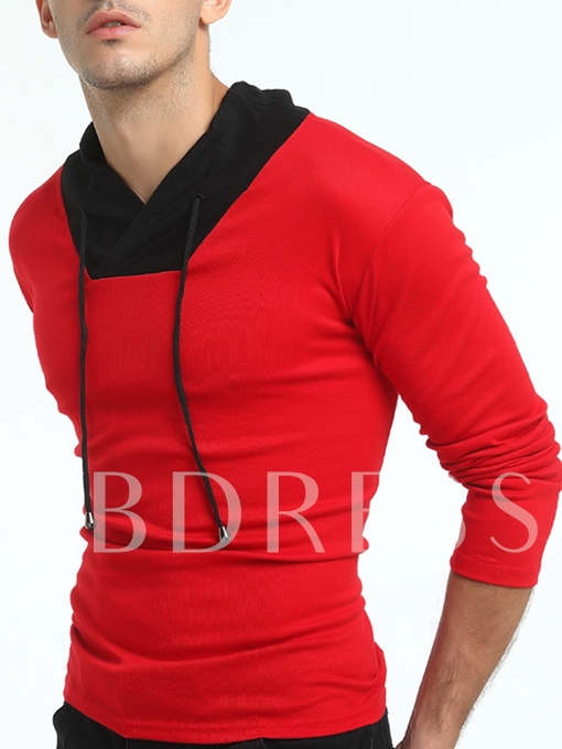 Stand Collar Lace Patchwork Color Block Slim Fit Men's Long Sleeve T-Shirt