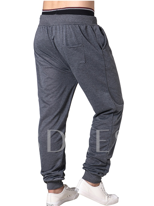 Lace-up Letter Printed Loose Men's Casual Pants