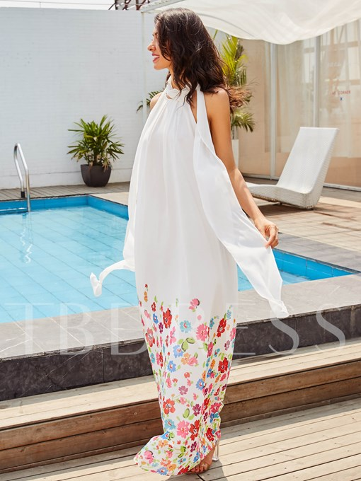 White Floral Straight Vacation Women's Maxi Dress