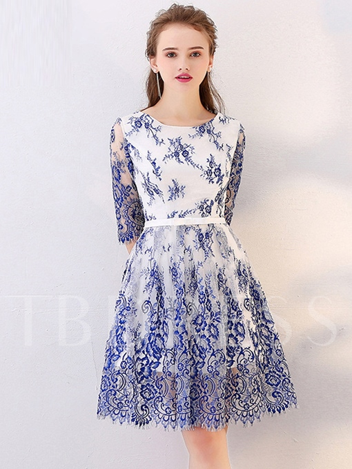 A-Line Half Sleeves Scoop Lace Bowknot Sashes Homecoming Dress