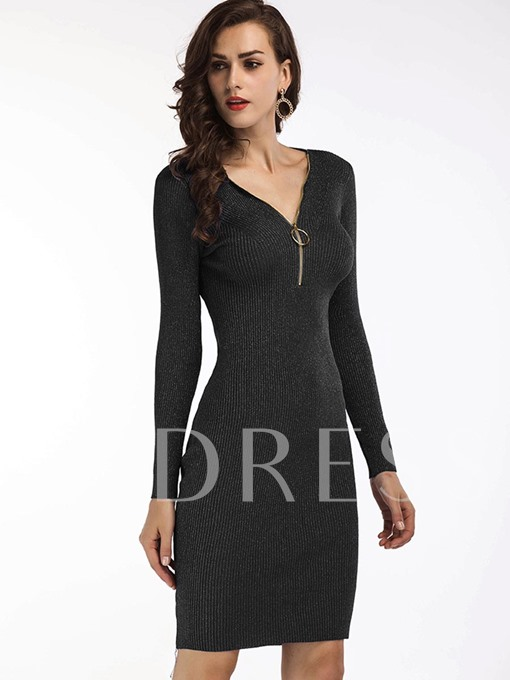 Long Sleeve Front Zipper Women's Sweater Dress