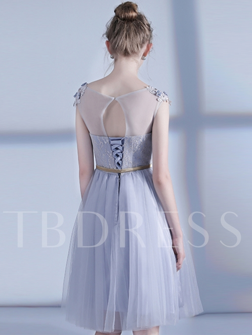 Appliques Flowers Lace Sashes A-Line Cap Sleeves Scoop Homecoming Dress