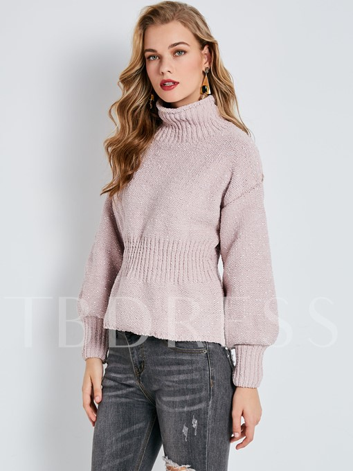 Turtleneck Knitted Fabric Slim Pullover Women's Sweater