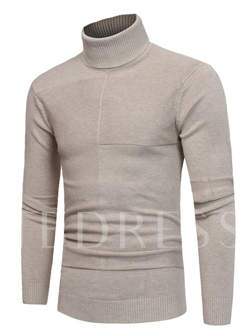 Turtleneck Solid Color Casual Slim Fit Knit Men's Sweater