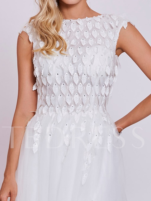 Scoop Split-Front Appliques A line Evening Dress
