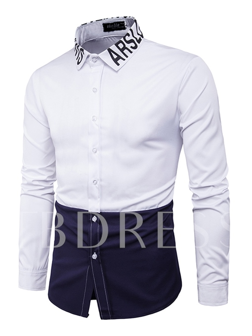 Lapel Letter Printed Patchwork Color Block Slim Fit Men's Shirt