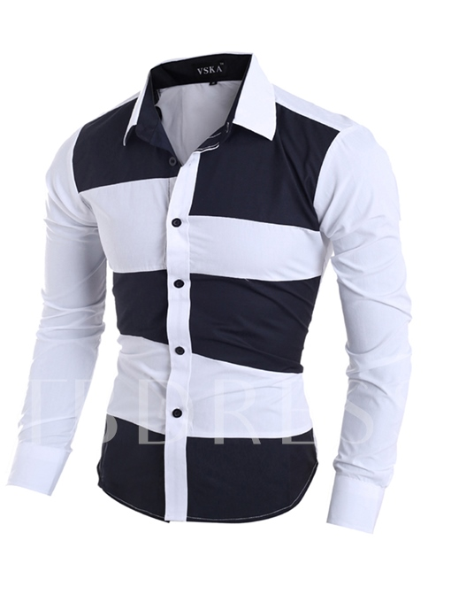 Lapel Irregular Patchwork Color Block Slim Fit Men's Casual Shirt
