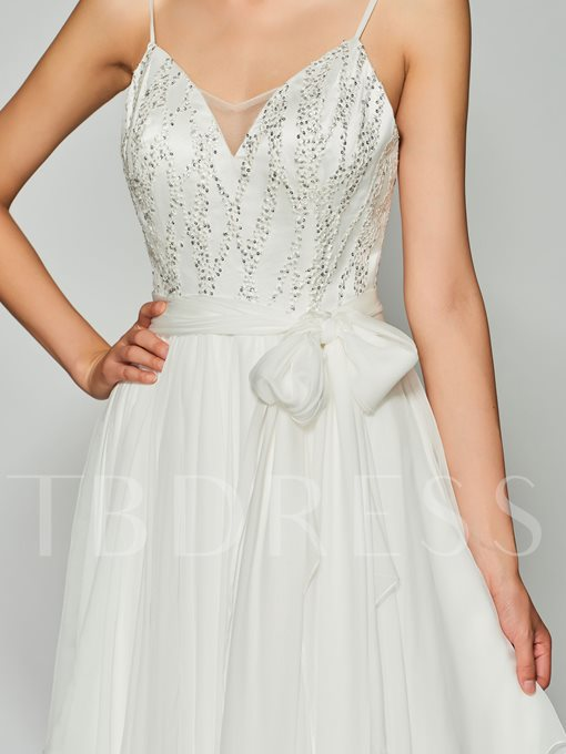 A-Line Spaghetti Straps Backless Beading Lace Floor-Length Prom Dress