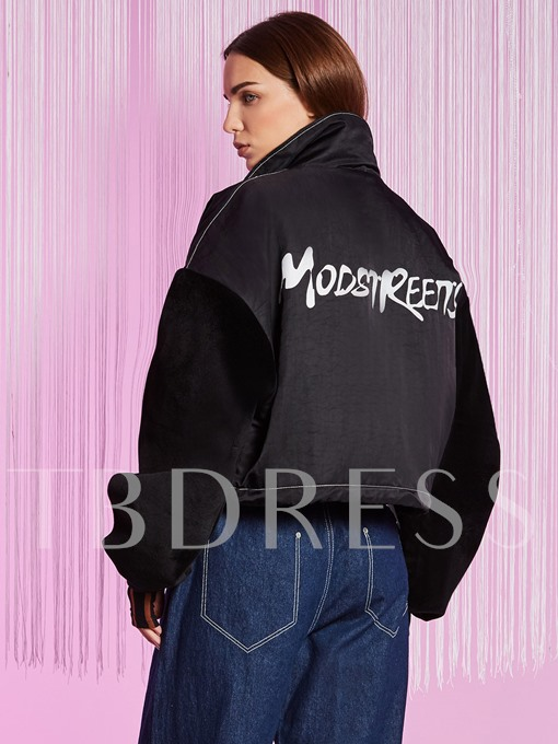 Color Block Letter Print Women's Jacket