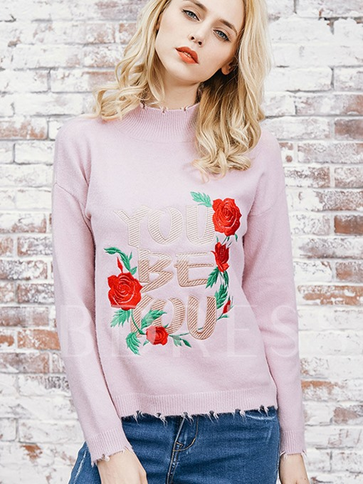 Pullover Floral Embroidery Slim Women's Sweater