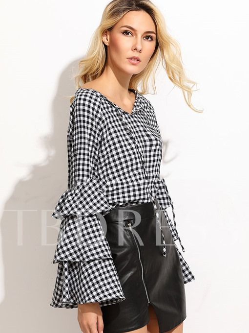 V-neck Plaid Pullover with Ruffle Sleeve Women's Blouse