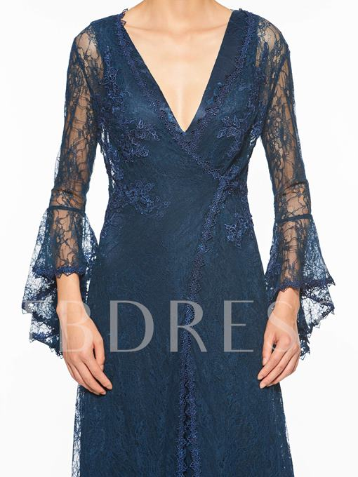 V-Neck Sheath Lace Mother of the Bride Dress with Long Sleeve Jacket