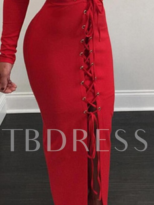 Red Lace up Bodycon Women's Maxi Dress
