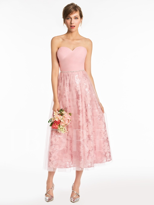 Sweetheart Sequins Beaded Tea-Length Bridesmaid Dress