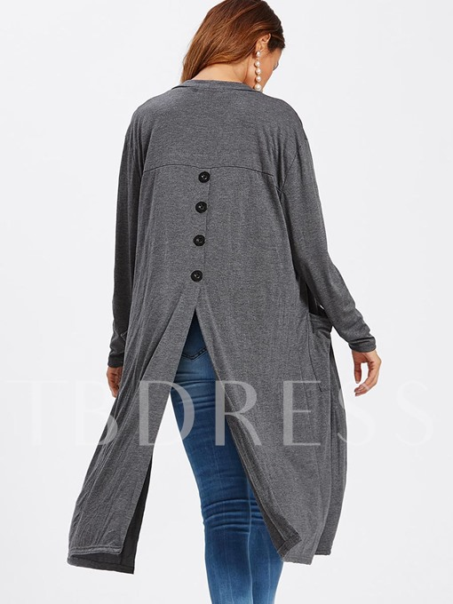 Mid-length Loose with Buttons Women's Cardigan