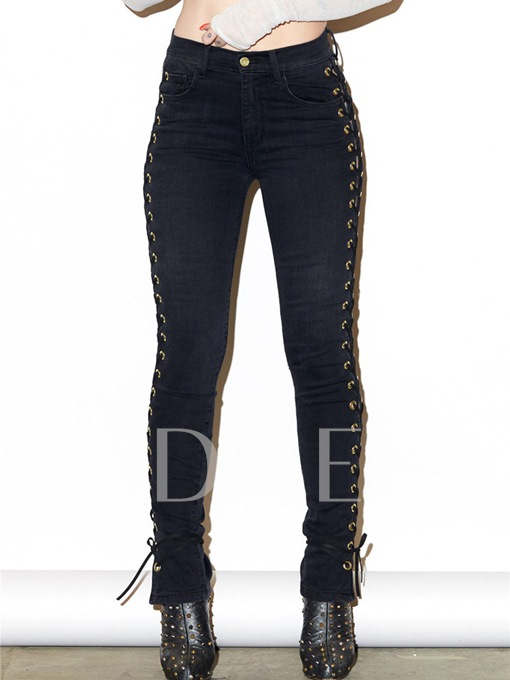 Patchwork Pocket Skinny Lace-Up Women's Jeans