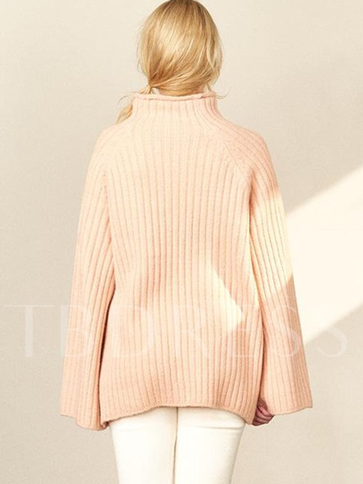 Turtleneck Loose Pullover with Flare Sleeve Women's Sweater