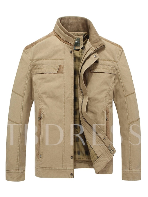 Stand Collar Zipper Cotton Slim Fit Casual Men's Jacket