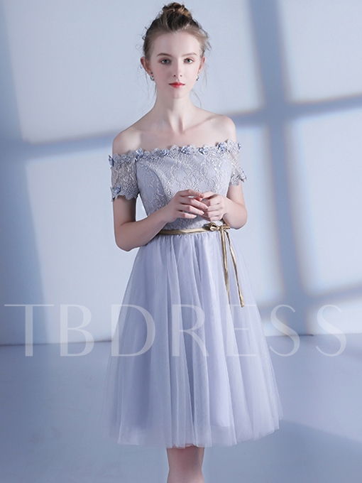 A-Line Off-the-Shoulder Short Sleeves Lace Flowers Appliques Sashes Homecoming Dress