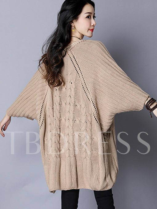 Round Neck Loose Pullover with Batwing Sleeve Women's Sweater