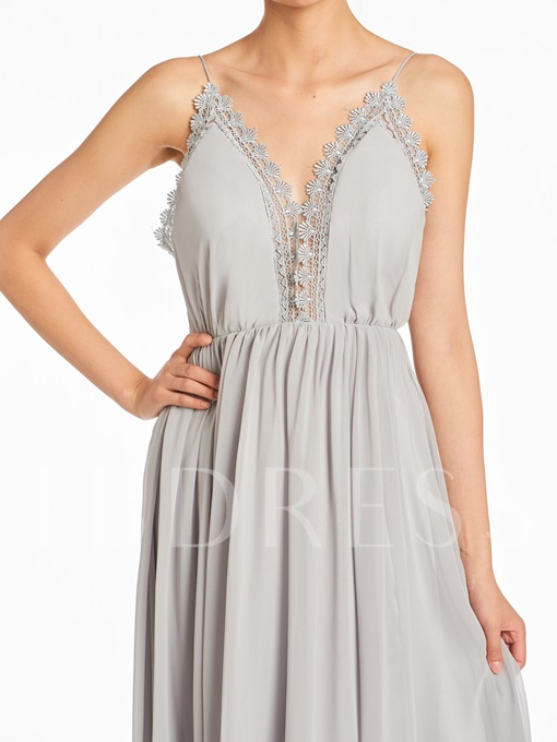 Spaghetti Straps Lace Backless Bridesmaid Dress