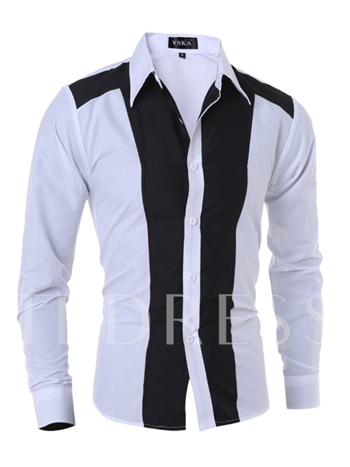 Lapel Black White Patchwork Color Block Slim Fit Men's Dress Shirt