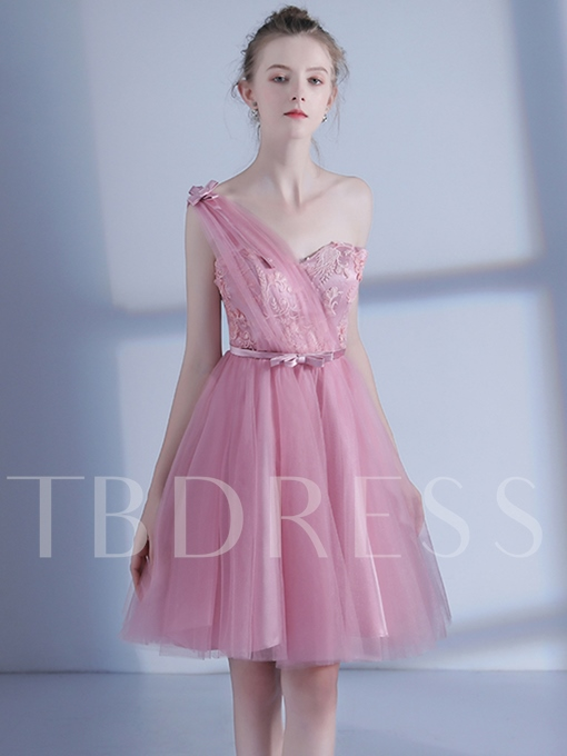 One-Shoulder A-Line Appliques Bowknot Flowers Pleats Homecoming Dress