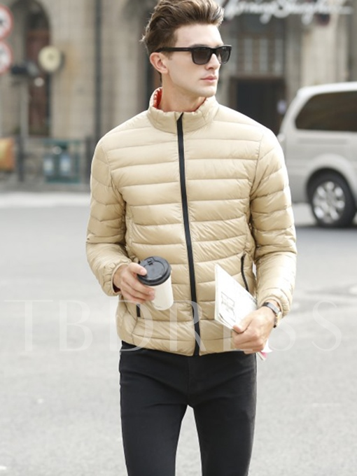 Stand Collar Zipper Thin Warm Solid Color Slim Men's Down Jacket