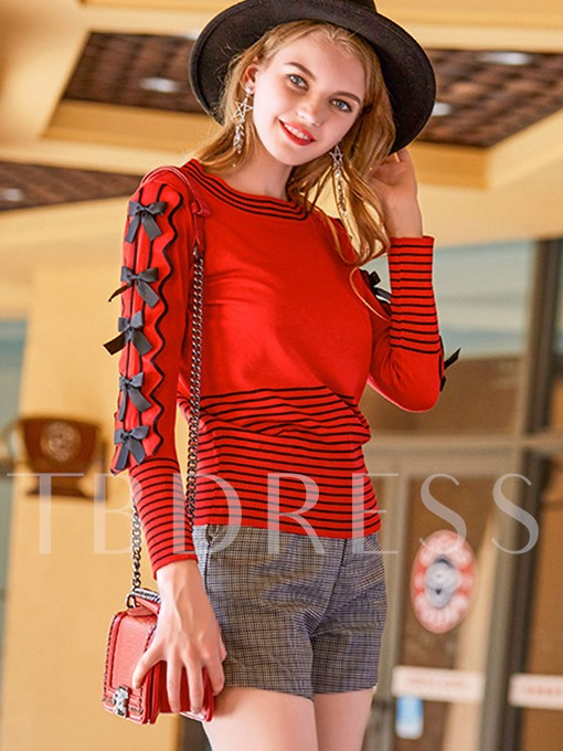 Round Neck Stripe with Bowknots Women's Sweater