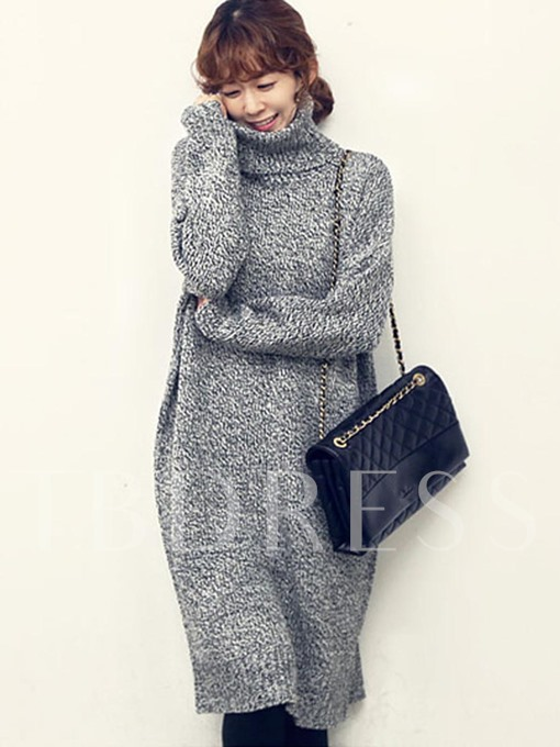 Light Gray Straight Women's Sweater Dress