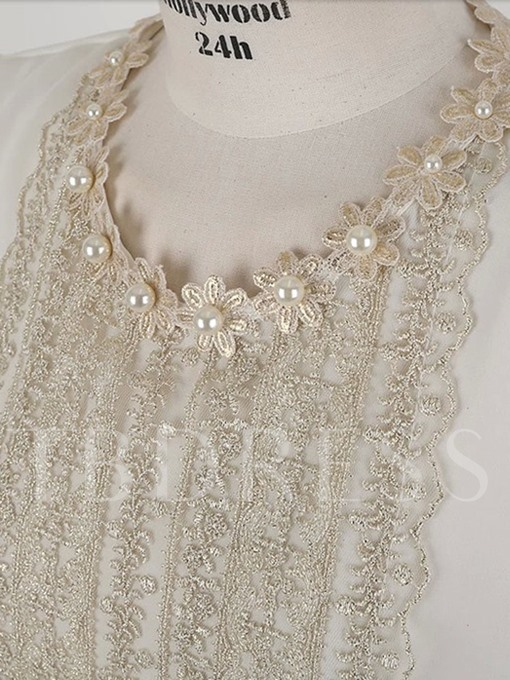 Round Neck Pullover with Bead and Lace decoration Women's Blouse