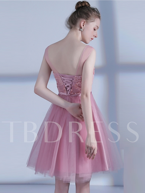 A-Line Appliques Bowknot Pearls Sashes Scoop Homecoming Dress