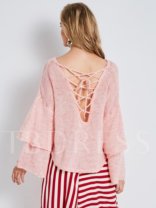 V-neck Falbala Loose with Flare Sleeve Pullover Women's Sweater