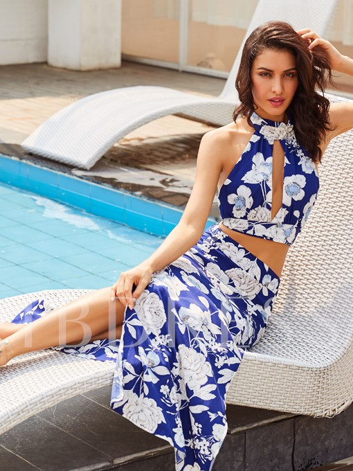 Floral Print Vacation Ankle-Length Women's Two Piece Dress