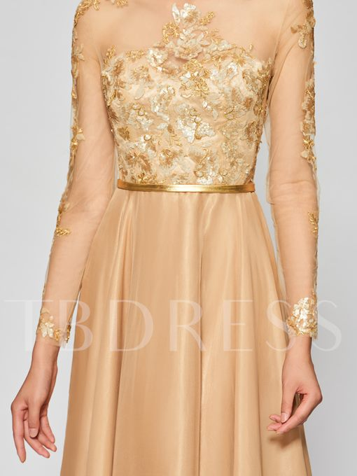 A-Line Button Appliques Scoop Prom Dress